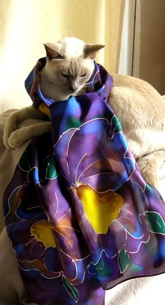 Purple Orchid Scarf with Shiraz as the model, didn't she do well! You can find it on www. an ideal gift for Mums on Mother's Day to make her feel special and look good too! Purple Orchids, Gifts For Mum, Feeling Special, Pure Silk, Kiwi, Hand Painted, Pure Products, Cats, Model