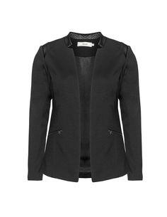 Zizzi Faux leather detail fitted blazer in Black