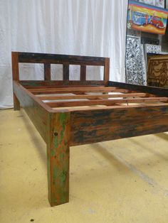Balinese Hand Carved Timber Bed Retro Recycled Boat Wood Queen Size
