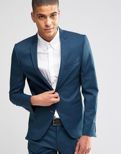 Shop Selected Homme Teal Suit in Super Skinny Fit with Stretch at ASOS. Buy Navy  Selected homme Suit for men at best ...