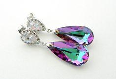 Pink Bridesmaid Earrings, Lavender Bridal Earrings, Vitrail Light Swarovski Crystal Earrings, Bridal Teardrop Earrings, Pink Dangle Earrings by EstyloJewelry on Etsy https://www.etsy.com/listing/85534529/pink-bridesmaid-earrings-lavender-bridal