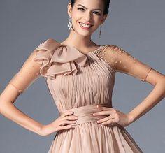 Rochii de ocazie de seara crem sampanie voal fin Western Dresses, J Brand, Beautiful Dresses, Glamour, Gowns, Indigo, How To Wear, Wedding, Clothes