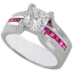 Princess Cut Diamond Bridge Engagement Ring Setting with Pink Sapphire In White Gold