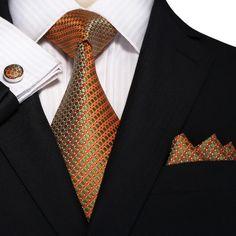 "3PC Silk Necktie Set Color: Orange and Green 59"" Length, 3.25"" Width"