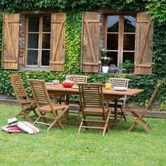 Salon jardin 6 places Teck : Table 160/210x100cm + 6 chaises HANTON