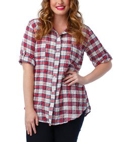Another great find on #zulily! Red Plaid Dion Button-Up - Plus by Thread & Butter #zulilyfinds