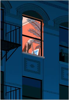 """From Voyeur to Friend Artist: Vincent Mahé """"Vincent Mahé split this illustration into two panels to emphasize the voyeuristic divide between seer and seen. New York Illustration, Graphic Design Illustration, Graphic Art, Posca Art, Ligne Claire, Wow Art, Retro Art, Aesthetic Art, Ny Times"""