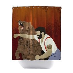 Man Punching Bear Shower Curtain