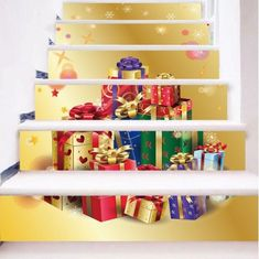 Christmas Simulation stair stickers Waterproof Wall Stickers DIY Home Decor Christmas Stairs, Christmas Fireplace, Christmas Gifts, Christmas Stickers, Stair Wall Decor, Home Wall Decor, Diy Home Decor, Stair Stickers, Diy Stickers