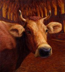 Animals Paintings - Mrs. OLearys Cow by James W Johnson
