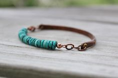 Rustic Turquoise and  Antiqued Copper Boho Bracelet by Belukro, $44.99