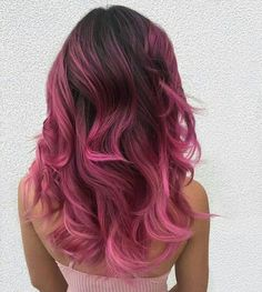 A Pink Hair Coloring Comprehensive Guide to getting that light pastel pink hair dye transform into a stunningly beautiful ombre pink hair styles and types. Dark Pink Hair, Pink Ombre Hair, Hair Color Pink, Hair Dye Colors, Cool Hair Color, Pink Bayalage, Dark Purple, Ombre Purple Hair, Dyed Hair Ombre