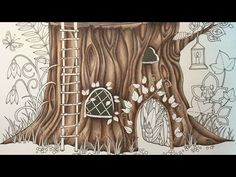 ENCHANTED FOREST by Johanna Basford - prismacolor pencils - color along - part 1 - YouTube