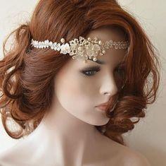 Wedding Hair vine, wedding head piece Halo headband, Ivory Lace Bridal headband, Bridal Hair Accessory, Wedding Hair Accessories