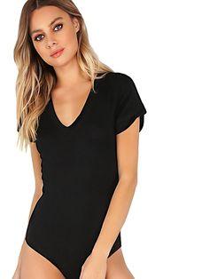 78de13ad79 Women s Short Sleeve Tops Basic V-Neck Leotard Bodysuit Lingerie - Black -  C417YD20A7S