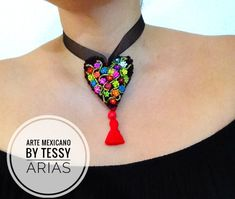 Diy Necklace, Crochet Necklace, Mexican Crafts, Mexico Style, Heart Crafts, Chocker, Jewerly, Polymer Clay, Jewelry Making