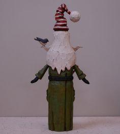 Jolly Pockets Primitive Folk Art Santa by JoyHallFolkArt on Etsy
