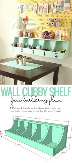 Mini Craft Room / make Scale / Diy Wall Cubby Shelf Free Building Plan Furniture Projects, Furniture Plans, Home Projects, Diy Furniture, Woodworking Furniture, Modern Furniture, Furniture Design, Cubbies, Cubby Shelves