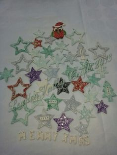 Ceramic Xmas tree decorations. £ 4 each or 3 for £10 plus postage. WWW.FACEBOOK.COM/leadonvalley