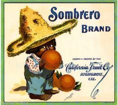 Highgrove CA, Sombrero Brand fruit crate label