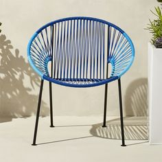Shop ixtapa blue lounge chair.   Modernist aesthetic brings the classic Mexican resort vibe to decks, patios, terraces.  Handwoven over black powdercoated steel tube frame, bold beams of blue PVC cord radiate a hot spot for hanging out.