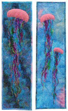 Jellyfish fabric art panels. Fabric Painting, Fabric Art, Ocean Quilt, Jellyfish Art, Felt Pictures, Sea Crafts, Mexica, Landscape Quilts, Sea Art