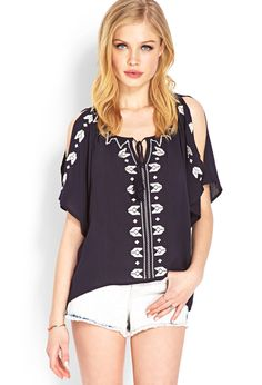 Whimsical Embroidered Peasant Top | FOREVER21 - 2000069615