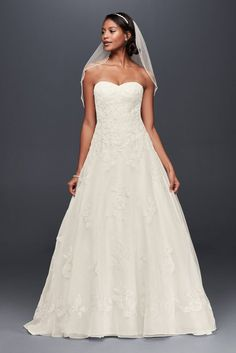 Organza A-Line Wedding Dress with Beaded Appliques Style WG3837