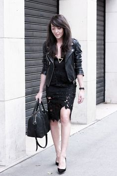 Black lace dress and leather jacket