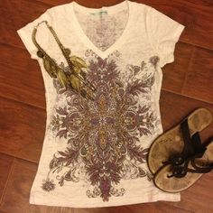 Purple, grey, and gold graphic top Sheer and light weight top with purple, grey, and gold decorative graphics. V-neck with cap sleeves. Polyester and cotton material. Maurices Tops