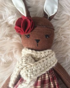 Vintage Christmas Bunny Doll by ElizabethAndElias on Etsy https://www.etsy.com/listing/497033563/vintage-christmas-bunny-doll