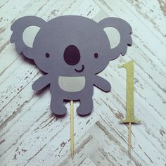Adorable koala bear for smash cakes! The age can be made in any color and age. Koala measures 4 x 5 One measures 3 Smash Cake First Birthday, Baby First Birthday, First Birthday Parties, First Birthdays, Baby Party, Baby Shower Parties, Bear Cakes, Paper Flowers Diy, Animal Party