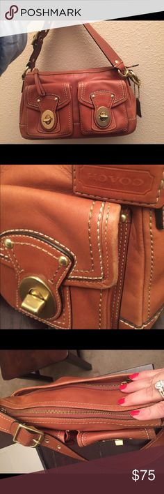 Coach Authentic! great condition, small scratch on the back of purse. Great quality leather! Don't miss out on this beauty! Gold hardwear Coach Bags Shoulder Bags
