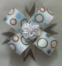 Brown Satin Ribbon Circle Dots & Flower Hair Clip | Jenstardesigns - Accessories on ArtFire