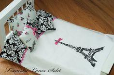 Items similar to American handmade doll bedding set comforter pillows Paris Eiffel Tower black white damask pink - Petite Fleur de Paris on Etsy American Girl Beds, American Girl Crafts, 18 Doll Bed, Doll Beds, Doll Crafts, Diy Doll, Ag Dolls, Girl Dolls, Doll Quilt