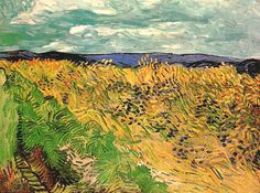 "Vincent van Gogh, ""Wheat Field with Cornflowers"", oil on canvas, 60.0 x 81.0 cm, July, 1890.  Fondation Beyeler, Riehen/Basel, Switzerland."