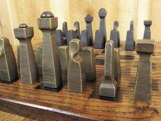 Blacksmith Chess Set by EchoHillForge on Etsy https://www.etsy.com/listing/160407533/blacksmith-chess-set
