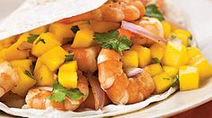 Shrimp Soft Taco With Mango Lime Salsa | Prep: 25 minutes; Cook: 7 minutes. Look for sliced red onion in your grocer's salad bar.