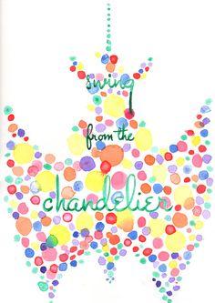Swing from the chandelier original watercolour by LittlestRoom