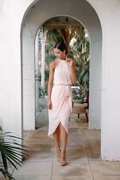 The Amaryllis Dress in Soft Peach is a dream. With halter neck, low back and . Dresses To Wear To A Wedding, Dream Wedding Dresses, Wedding Gowns, Dresses For Wedding Guests, Wedding Attire For Women, Hourglass Wedding Dress, Plus Size Wedding, Groom Dress, Princess Wedding