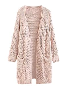 Goodnight Macaroon 'Bess' Twisted Cable Knit Long Cardigan Button-front, long cardigan Cable-knitted and patterns Front pockets Elasticated cuffs and hem White Cardigan Outfit, Cardigan Outfits, Cable Knit Cardigan, Long Cardigan, Winter Cardigan, Long Sweaters, Sweaters For Women, The Cardigans, Cool Outfits