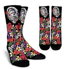 Floral Anatomy Ear Socks Sock Crafts, Custom Socks, Buy Shoes Online, Human Skull, Human Anatomy, Cool Socks, Human Body, Rubber Rain Boots, Teeth