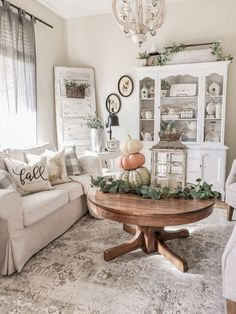 A Cozy Fall Farmhouse Family Room - Cottage style home decor inspiration with pumpkins, cozy throws and pillows, vintage and antique finds, a white Ra. A Cozy Fall Farmhouse Family Room - Cottage style home decor inspiration with pu. Farmhouse Family Rooms, Country Farmhouse Decor, Modern Farmhouse, French Farmhouse, Farmhouse Style, Rustic Style, Farmhouse Design, Vintage Farmhouse Decor, Cottage Farmhouse