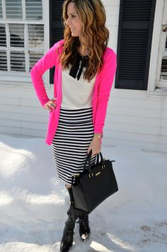 great work outfit - striped pencil skirt, simple tee with bow, and bright pink boyfriend cardigan. with tall black boots