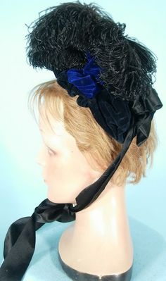 c. 1880's Deep Navy Velvet Bonnet with Black Ostrich Feathers and Ribbons