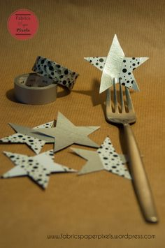 Christmas decoration session – part 1 Fabric Paper, Forks, Washi Tape, About Me Blog, Christmas Decorations, Fabrics, Presents, Invitations, Stars