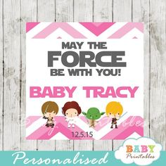 Printable Pink Chevron Star Wars Baby Shower Square Labels, Personalized. #babyprintables