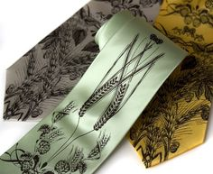 """""""Beer"""" tie for the groom + wedding party.  Hops, barley and wheat vintage tie. Perfect for my man."""