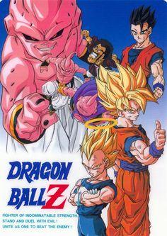 Vegeta, Goku, Gohan, Hercule Satan, and Buu