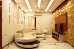 luxurious Living room, which harmoniously amalgamates curved backlit jali pattern with cotemporary barcode pattern lights A.J Architects. Luxury Interior, Interior Design, Neutral Palette, Gated Community, Common Area, Large Windows, Teak Wood, Second Floor, Ground Floor